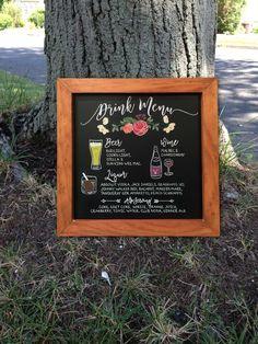 12x12 Custom Chalkboard Wedding/Party/Bar Drink Menu by TimberAndType on Etsy