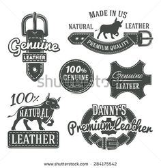 Set of vector vintage leather belt logo designs, retro quality labels. Monochrome genuine leather illustration