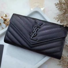 2017 New Saint Laurent Large Monogram Flap Wallet in Black Grain de Poudre Textured Matelasse Leather