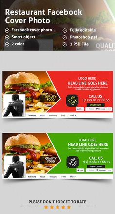 Food & Restaurant Facebook Covers Template PSD #design Download: http://graphicriver.net/item/food-restaurant-facebook-covers/13306171?ref=ksioks