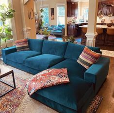 Living Room Inspiration, Home Decor Inspiration, Decor Ideas, Living Room Designs, Living Room Decor, Turquoise Couch, Living Room Sectional, Home And Living, Home Furniture