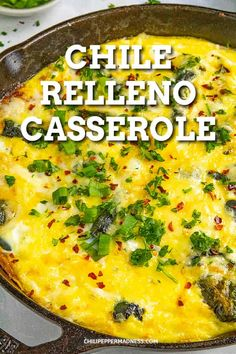 Chile Relleno Casserole Chile Relleno Casserole - This chile relleno casserole recipe takes your favorite chiles rellenos ingredients and turns them into a one-pan dish, with roasted poblanos, eggs and cheese. It's perfect for brunch, lunch or dinner. Mexican Breakfast Recipes, Mexican Dishes, Brunch Recipes, Mexican Food Recipes, Crepe Recipes, Waffle Recipes, Yummy Recipes, Dinner Recipes, Party