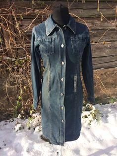 a96b8775f5 Vintage Denim Midi Dress Long Sleeves Hipster Dress Button Up Trendy Denim  Coat Large Size
