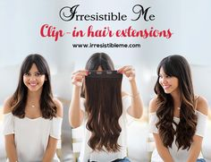 Make a dramatic hairstyle change with Irresistible Me 100% human Remy clip-in hair extensions. Can be cut, dyed and heat styled. Great selection of colors. You can choose the length and weight. Free returns and exchanges, worldwide delivery. Fill in our fun quiz to get options tailored for your style. Sign up and get 20% off your first order!