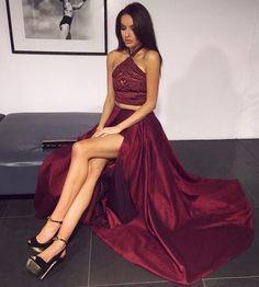 Two Piece Prom Dress, Sexy Burgundy Prom Dresses,