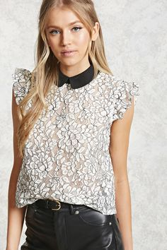 A semi-sheer crochet knit top featuring a contrast Peter Pan collar, ruffled cap sleeves, buttoned keyhole back, and a boxy silhouette.