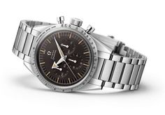 The @omegawatches Speedmaster 60th Anniversary Limited Edition 38.6 mm contains Omega's chronograph Caliber 1861; its tachymeter scale is drawn in a different font than that of the current Speedmaster series to match the scale of the vintage model from 1957. More @ http://www.watchtime.com/wristwatch-industry-news/watches/the-class-of-57-omegas-1957-trilogy-limited-editions/ #omega #watchtime #chronograph #Baselworld2017