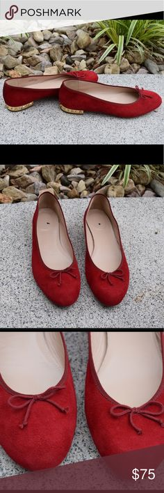 """✨ Kiki suede studded-heel ballet flats    J. Crew Pre-loved but in beautiful shape!! No signs of wear except for on the soles of the shoes! 5/8"""" heel. Suede upper, leather lining and sole. Made in Italy. Fit true to size. These are the perfect shoes to add a little edge to any outfit! Please no trades. J. Crew Shoes Flats & Loafers"""