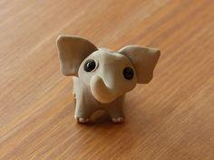 Tiny elephant  Handmade miniature polymer clay by AnimalitoClay, $20.00