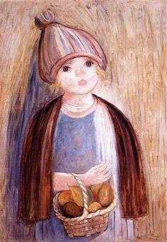 Girl With Pears-Tadeusz Makowski (1882 – 1932, Polish)