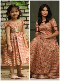 Mom Daughter Matching Dresses, Mom And Baby Dresses, Mother Daughter Outfits, Dresses Kids Girl, Cotton Frocks For Kids, Frocks For Girls, Girls Frock Design, Baby Dress Design, Kids Dress Wear