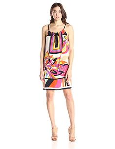 Trina Turk Womens Lyla Fleur De Cap Scarf-Print Dress