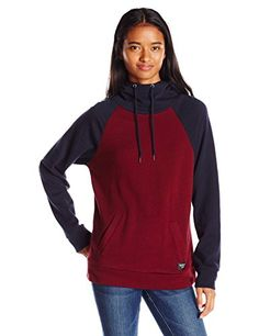 OBEY Womens Jackson Colorblock Pullover Hoodie RaisinDark Navy Large ** You can get more details by clicking on the image.