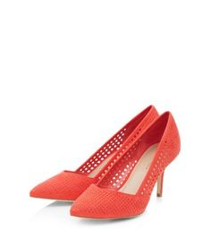 e33b0d3186f1 Add a flash of colour to your outfit in these Wide Fit Red Suede Perforated  Pointed Court Shoes. New Look