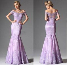 Light Purple Short Sleeves Prom Dresses