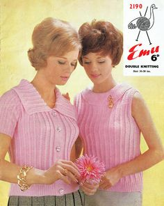 PDF 1960s Womens Ladies Knitting Pattern Twin Set Fitted