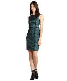 Ivy & Blu black and teal lace overlay sleeveless stretch dress 62-