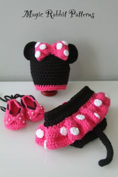 Crochet Minnie Mouse Hat Diaper cover with by MagicRabbitPatterns, $6.75