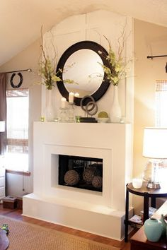 MATCHING MIRRORS on either side to welcome light!!! #indoor #home #fireplace