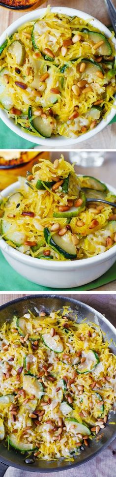 This dish is so unbelievably good: the zucchini, spaghetti squash, Parmesan cheese and toasted pine nuts are meant to be together!