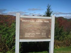 Sign at the parking area for the Graveyard Fields overlook on the Blue Ridge Parkway