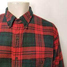 862eb8a1a79 vtg LANDS END Red Green Plaid Cotton Flannel Shirt Mens XL TALL 90s Grunge   LandsEnd