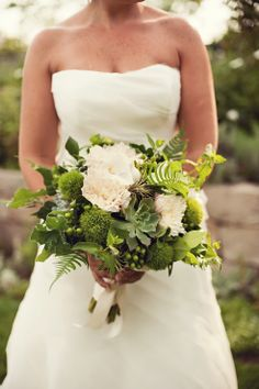 White and green bouquet featuring succulents