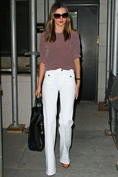 Miranda Kerr Equipment Blouse, Stella McCartney Pants and Sunglasses, with a Celine Handbag