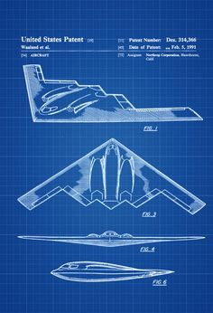 B-2 Bomber Patent - Airplane Blueprint Aviation Art Airplane Art  Pilot Gift Aircraft Decor Airplane Poster Northrop Air Force by PatentsAsPrints