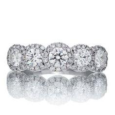 Diamond five stone halo anniversary ring wedding band in platinum 4.25