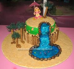 Homemade Luau Waterfall Birthday Cake: This Waterfall Birthday Cake was made of 2 layers and had a waterfall made of piping gel and Wilton colorings