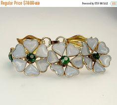 1950s Poured Glass Flower & Rhinestone Bracelet by jujubee1