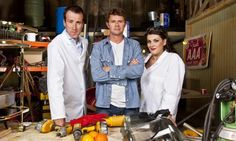 (From left) Anton Du Beke, Stefan Gates and Jodie Prenger in Food Factory. Photograph: BBC/Emilie Sandy