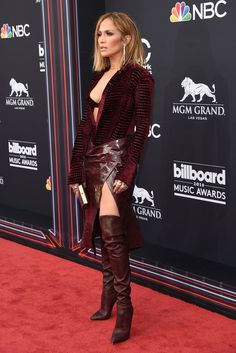 Wardrobe Breakdown: Jennifer Lopez At Billboard Music Awards - Talking With Tami Celebrity Boots, Celebrity Red Carpet, Celebrity Style, Jennifer Lopez, Chic Outfits, Fashion Outfits, Womens Fashion, Red Leather Boots, Actrices Sexy