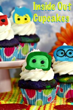 Make your own Inside Out Characters With Inside Out Cupcakes! Perfect party idea for kids. Click through for the recipe. A Worthey Read