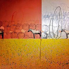 "Michael Cutlip ""Yellow Wood"" 23 x 23, Interesting background"
