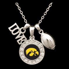 Iowa Hawkeyes 3 Charm Football Necklace - Charming Collectables. Love this!