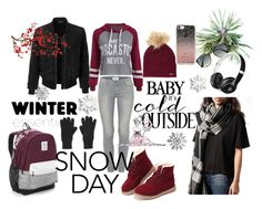 """""""Beauty of the winter"""" by bad-wolf-18 ❤ liked on Polyvore featuring LE3NO, Paige Denim, Ray-Ban, Steve Madden, Victoria's Secret, Beats by Dr. Dre, Casetify, Brewster Home Fashions, Winter and snow"""