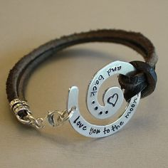 Moon & Back Leather Bracelet  - aluminum swirl - brown leather cord - - sterling silver findings - heart stamp on Etsy, $52.00 Metal shape~v