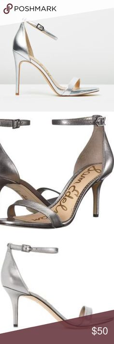 d57f88c47cce5 Sam Edelman nada Silver Leather High Heel sandals new without box sam  Edelman leather strap ankle