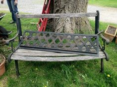Buy Old Wooden Bench at garage sale and just re-do wood!  This is great and looks easy enough to do!