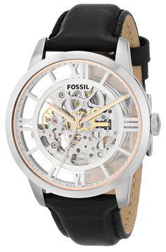 Fossil - ME3041 - Montre Homme - Automatique - Analogique - Bracelet Cuir Noir: Fossil: Amazon.fr: Montres