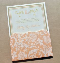 Damask Pocket Fold Wedding Invitations by Whimsy B. Paperie www.whimsyb.com