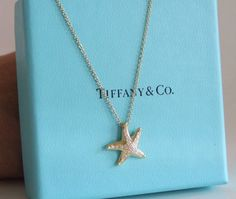 Tiffany & co.18k diamond Elsa Peretti starfish necklace AUTH. $2500 w.Box SALE! #TiffanyCo #Pendant