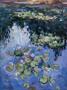 Water lilies Original Oil painting 60 x 80 cm buy or order in an online shop on Livemaster Simferopol This is an original oil painting with beautiful Les Nénuphars Monet, Oil Painting On Canvas, Painting & Drawing, Oil Paintings, Pond Painting, Painting Videos, Landscape Paintings, Original Paintings, Painting Inspiration