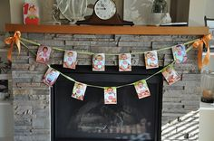 This was what my friend did for her baby's 1st Birthday. She displayed all her baby pictures, from new newborn to current.