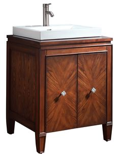 25″ Mortino Single Bath Vanity - Make a statement with the Mortino Single Vanity. A charming walnut finish will fill your master bathroom with character and prominence. Dual panels offer adequate shelving for all of the necessities. Listed at $1,165.00.