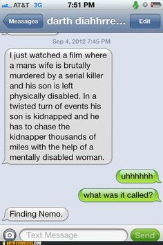 I just watched a film where a man's wife is brutally murdered by a serial killer and his son is left physically disabled. In a twisted turn of events his son is kidnapped and he has to chase the kidnapper thousands of miles with the help of a mentally disabled woman. Uhhhhh. What is it called? Finding Nemo.