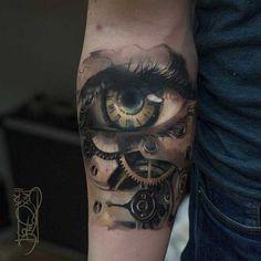 Perfect 3 colors biomechanical tattoo style of Eye motive done by artist Tymur Denysenko Tattoo Henna, Sick Tattoo, Badass Tattoos, Forearm Tattoos, Girl Tattoos, Tattoos For Guys, Sleeve Tattoos, Creative Tattoos, Unique Tattoos
