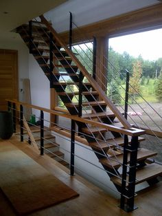 New Ideas Industrial Stairs Design Metals Interior Stair Railing, Stair Railing Design, Floating Staircase, Modern Staircase, Spiral Staircases, Tiny House Stairs, Escalier Design, Future House, Open Stairs